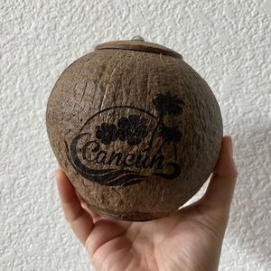 Cancun Carved Coconut Container from Mexico